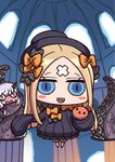 2girls abigail_williams_(fate/grand_order) april_fools bandaid_on_forehead black_bow black_dress black_hat blonde_hair blue_eyes blush blush_stickers bow chibi dress fate/grand_order fate_(series) floating grey_hair hair_bow hat highres holding holding_stuffed_animal horn lavinia_whateley_(fate/grand_order) multiple_girls no_nose official_art open_mouth orange_bow pink_eyes ribbed_dress riyo_(lyomsnpmp) sharp_teeth sleeves_past_fingers sleeves_past_wrists stuffed_animal stuffed_toy sweat teddy_bear teeth tentacles