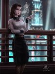 1girl 2016 against_window belt belt_buckle bioshock bioshock_infinite black_skirt blue_eyes breasts brooch brown_hair buckle building buttons cigarette city_lights collared_shirt elizabeth_(bioshock_infinite) fishnet_legwear fishnet_pantyhose fishnets highres holding holding_cigarette indoors jewelry long_skirt long_sleeves medium_breasts mirco_cabbia number pantyhose parted_lips pencil_skirt railing realistic shirt signature skirt skyscraper smoke smoking solo spotlight standing white_shirt window wing_collar