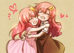 2girls ^_^ bare_arms blush closed_eyes dress gundam gundam_seed gundam_seed_destiny hair_ornament hug lacus_clyne long_hair meer_campbell morihaw multiple_girls open_mouth pink_hair sleeveless sleeveless_dress smile star star_hair_ornament time_paradox younger