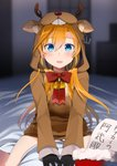 1girl abukuma_(kantai_collection) alternate_costume anchor animal_costume antlers bangs bed bell blonde_hair blue_eyes blush commentary hair_between_eyes highres kantai_collection long_hair looking_at_viewer open_mouth red_ribbon reindeer_antlers reindeer_costume ribbon smile solo translation_request yunamaro