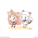 2girls :3 animal_ears anklet black_hair blonde_hair cat_day cat_ears cat_tail chibi hair_flaps hair_ornament hair_ribbon hairclip jewelry kantai_collection long_hair looking_at_viewer mittens momoniku_(taretare-13) multiple_girls northern_ocean_hime pale_skin paw_pose pleated_skirt remodel_(kantai_collection) ribbon scarf school_uniform serafuku signature skirt striped_tail tail white_hair yuudachi_(kantai_collection)