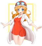 1girl :d blue_eyes blush dress eyeliner ginger goggles goggles_on_head goggles_on_headwear helmet highres labcoat maccha_pudding_(dragonmaster464) makeup medium_hair mona_(warioware) motorcycle_helmet open_mouth outstretched_arms red_dress red_hair short_dress smile solo thighs warioware white_background white_coat