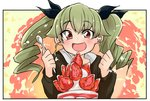 1girl :d anchovy bangs barashiya black_border black_jacket black_ribbon blush border cake casual clenched_hand commentary_request drill_hair eyebrows_visible_through_hair food fruit girls_und_panzer green_hair hair_ribbon highres holding holding_spoon jacket long_hair long_sleeves looking_at_viewer open_mouth outside_border red_eyes ribbon smile solo spoon strawberry twin_drills twintails upper_body
