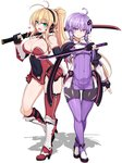 2girls :d adapted_costume ahoge antenna_hair armor ass_visible_through_thighs black_gloves blonde_hair boots breasts cleavage_cutout commentary_request contrapposto covered_navel criss-cross_halter crossed_ankles detached_sleeves dress elbow_gloves eyebrows_visible_through_hair fingerless_gloves flat_chest full_body gloves halterneck hand_up headphones heart high_heel_boots high_heels katana large_breasts leotard multiple_girls ninja ninjatou null_(nyanpyoun) open_mouth over_shoulder pantyhose ponytail purple_eyes purple_hair purple_legwear short_dress sidelocks simple_background single_knee_boot single_thigh_boot smile standing standing_on_one_leg sword thighhighs thighs tsurumaki_maki vambraces vocaloid voiceroid weapon weapon_over_shoulder white_background yuzuki_yukari