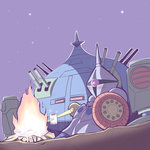 adzam blush campfire camping chibi commentary_request dashio desert fire food gundam gyan holding lance marshmallow mecha missile_pod mobile_suit_gundam night no_humans outdoors outline polearm roasting rocket_launcher science_fiction shield sitting star_(sky) turret walker weapon yurucamp