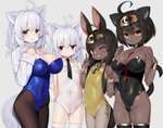 4girls ;d ahoge animal_ear_fluff animal_ears antenna_hair bangs bare_shoulders black_hair black_legwear black_leotard black_neckwear blue_leotard blush breasts brown_legwear cameltoe cleavage clothes_lift collar commentary_request covered_navel dark_skin detached_collar egyptian eyebrows_visible_through_hair fingernails grey_background grey_eyes grey_legwear groin hair_between_eyes hands_up headpiece highres large_breasts leotard long_hair long_sleeves miyamae_(miyazen9311) multiple_girls one_eye_closed open_mouth original pantyhose purple_eyes red_eyes ribbed_sweater short_hair silver_hair simple_background small_breasts smile strapless strapless_leotard sweater sweater_lift tail thick_eyebrows thighhighs v very_long_hair white_collar white_leotard white_sweater wing_collar wrist_cuffs yellow_eyes yellow_leotard