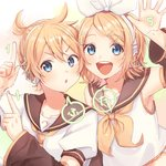 1boy 1girl :d :o blonde_hair blue_eyes close-up commentary detached_sleeves eyebrows_visible_through_hair fingernails frown hair_ribbon happy headset index_finger_raised kagamine_len kagamine_rin looking_at_viewer number open_mouth oto_(8731832) puffy_short_sleeves puffy_sleeves ribbon sailor_collar shirt short_hair short_sleeves smile speech_bubble translated upper_body v-shaped_eyebrows vocaloid white_ribbon white_shirt yellow_ribbon