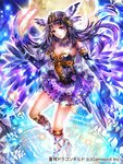 1girl bracelet breasts choker cleavage copyright_name copyright_request elbow_gloves feathers floating_hair gloves hair_feathers head_tilt headpiece holding holding_sheath jewelry layered_skirt long_hair looking_at_viewer medium_breasts miniskirt official_art purple_eyes purple_gloves purple_hair purple_skirt rioka_(southern_blue_sky) sheath skirt solo standing strapless very_long_hair