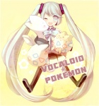 1girl aqua_eyes aqua_hair bad_id bad_pixiv_id bow crossover detached_sleeves egg hatsune_miku hug long_hair one_eye_closed pokemon pokemon_(creature) sasasasa skirt smile thighhighs togepi togetic twintails very_long_hair vocaloid