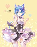 1girl :d animal_ears black_dress blue_eyes blue_hair blush breasts cat_ears cat_tail character_name commentary_request copyright_name dress frills hair_ornament hair_ribbon hands_up heart kemonomimi_mode legs_apart looking_at_viewer maid maid_headdress medium_breasts mintchoco_(orange_shabette) open_mouth purple_ribbon re:zero_kara_hajimeru_isekai_seikatsu rem_(re:zero) ribbon short_hair smile solo standing tail teeth thighhighs x_hair_ornament