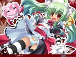 1girl :3 alternate_costume animal_ears bell bonnet cameltoe cat_ears clothes_writing earrings elephant enmaided fang front-print_panties gloves green_hair highres jewelry jingle_bell koihime_musou kuwada_yuuki long_hair maid moukaku panties pantyshot paw_gloves paws print_panties red_eyes ribbon skirt skirt_lift solo striped striped_legwear tail thighhighs tiger_ears tiger_tail twintails underwear white_panties wind wind_lift