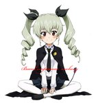 1girl anchovy anzio_school_uniform arm_support bangs belt black_belt black_cape black_footwear black_neckwear black_ribbon black_skirt blush cape character_name closed_mouth commentary cursive dress_shirt drill_hair eyebrows_visible_through_hair full_body girls_und_panzer green_hair hair_ribbon happy_birthday indian_style italian kayabakoro loafers long_hair long_sleeves looking_at_viewer miniskirt necktie pantyhose pleated_skirt red_eyes ribbon riding_crop school_uniform shirt shoes simple_background sitting skirt smile solo twin_drills twintails white_background white_legwear white_shirt