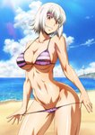 1girl beach bikini bikini_pull breasts cleavage collarbone contrapposto covered_nipples cowboy_shot day groin head_tilt highres hip_focus jpeg_artifacts killing_bites large_breasts looking_at_viewer navel official_art orange_eyes resized resizing_artifacts shiny shiny_skin smile standing string_bikini striped striped_bikini swimsuit toned tsurime upscaled uzaki_hitomi watanabe_kazuo wet white_hair