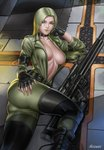 1girl audia_pahlevi belt black_footwear blonde_hair breasts choker cleavage commentary english_commentary fingerless_gloves fingernails floor gloves gun hand_on_hip hand_on_own_cheek highres jacket large_breasts long_hair lying metal_gear_(series) metal_gear_solid on_side open_clothes open_jacket rifle sleeves_rolled_up sniper_rifle sniper_wolf solo weapon yellow_eyes