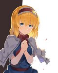 1girl alice_margatroid bangs blonde_hair blue_dress blue_eyes breasts brown_background capelet commentary_request dress eyebrows_visible_through_hair hair_between_eyes hairband hands_up highres lolita_hairband looking_at_viewer medium_breasts own_hands_together petals red_hairband red_neckwear red_sash rin_falcon sash short_hair solo touhou two-tone_background upper_body white_background white_capelet