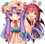 2girls :< :d ^_^ arm_up bat_wings black_legwear blush book capelet chair checkerboard_cookie chibi closed_eyes cookie crescent crescent_moon_pin dress dress_shirt eyebrows_visible_through_hair eyes_visible_through_hair food frilled_skirt frills full_body hair_ribbon happy hat hat_ornament head_wings heart holding holding_book kirero koakuma long_hair long_sleeves looking_at_viewer mob_cap multiple_girls necktie no_nose open_book open_mouth outstretched_arm patchouli_knowledge pink_dress purple_eyes purple_hair red_hair ribbon shirt shoes simple_background sitting skirt skirt_set smile sparkle speech_bubble spoken_heart star striped touhou tress_ribbon vertical-striped_dress vertical_stripes very_long_hair vest white_background wide_sleeves wings yellow_neckwear