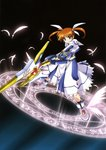 1girl absurdres feathers fingerless_gloves gloves hair_ribbon highres holding holding_weapon lyrical_nanoha magic magic_circle magical_girl mahou_shoujo_lyrical_nanoha mahou_shoujo_lyrical_nanoha_the_movie_1st purple_eyes raising_heart red_hair ribbon shoes solo takamachi_nanoha twintails weapon white_ribbon winged_shoes wings