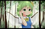 1girl antidote arm_at_side arm_up blue_dress blurry breasts commentary_request daiyousei day depth_of_field dress eyebrows_visible_through_hair fairy_wings forest green_eyes green_hair hair_between_eyes hair_ribbon hand_in_hair letterboxed light_frown looking_to_the_side nature outdoors partial_commentary pinafore_dress puffy_short_sleeves puffy_sleeves ribbon shirt short_hair short_sleeves small_breasts solo touhou transparent_wings upper_body white_shirt wing_collar wings yellow_neckwear yellow_ribbon