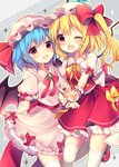 2girls :d bat_wings blonde_hair blue_hair blush bow commentary_request crystal dress dress_lift eyebrows_visible_through_hair feet_out_of_frame flandre_scarlet frilled_shirt_collar frills grey_background hat hat_bow hat_ribbon highres lifted_by_self looking_at_viewer mary_janes mob_cap multiple_girls neck_ribbon one_eye_closed open_mouth petticoat pink_dress pink_hat puffy_short_sleeves puffy_sleeves red_bow red_eyes red_footwear red_neckwear red_ribbon red_sash red_skirt red_vest remilia_scarlet ribbon ruhika shoes short_hair short_sleeves siblings sisters skirt smile standing standing_on_one_leg thighhighs touhou v vest white_hat white_legwear wings wrist_cuffs yellow_bow yellow_neckwear yellow_outline yellow_ribbon zettai_ryouiki