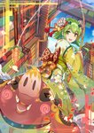 1girl :d >_< absurdres animal back_bow bangs blue_flower blush_stickers bobo_(6630978) bow building carrot_on_stick checkered checkered_bow chinese_commentary chinese_zodiac commentary day fishing_rod floral_print flower green_eyes green_hair green_kimono gumi hair_bow hair_flower hair_ornament highres holding japanese_clothes kanzashi kimono long_sleeves looking_back new_year obi open_mouth orange_bow outdoors petals pig red_bow sash short_hair_with_long_locks smile solo striped striped_bow tassel vocaloid white_flower wide_sleeves xd year_of_the_pig