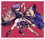 2girls awa_(bihidasu) bare_legs black_footwear blonde_hair boots cape closed_eyes dancing earmuffs eyebrows_visible_through_hair highres hijiri_byakuren juliet_sleeves long_hair long_sleeves multicolored_hair multiple_girls open_mouth puffy_sleeves purple_hair red_background sandals sheath sheathed short_hair short_sleeves skirt sleeveless sword tagme touhou toyosatomimi_no_miko weapon wristband yellow_footwear