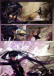 2girls absurdres alphonse_(white_datura) battle bikini_top black_hair black_rock_shooter black_rock_shooter_(character) blue_eyes breasts burning_eye chain coat comic dead_master duel front-tie_top gloves highres horns long_hair multiple_girls scan scythe short_shorts shorts silent_comic small_breasts sword twintails weapon