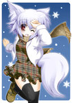 1girl animal_ears black_legwear blush breasts contemporary dress fang hand_on_own_head highres inubashiri_momiji iwaki_hazuki looking_at_viewer medium_breasts one_eye_closed open_mouth red_eyes scarf short_hair silver_hair snow solo tail thighhighs touhou unmoving_pattern winter winter_clothes wolf_ears wolf_tail