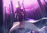 1girl armor armored_boots armored_dress atalanta_(alter)_(fate) atalanta_(fate) banner blonde_hair boots braided_ponytail dress dutch_angle fate/apocrypha fate_(series) faulds from_behind high_heel_boots high_heels holding jeanne_d'arc_(fate) jeanne_d'arc_(fate)_(all) long_hair outdoors pillar ponytail purple_dress standing very_long_hair zonotaida