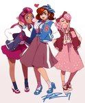 3girls ;d alternate_hairstyle bliss_barson blue_eyes bow breasts brown_hair bubble_blowing chewing_gum cryamore dark_skin deseret_amoir earrings eyeshadow flat_chest full_body hair_bow hairband hand_in_pocket highres hoop_earrings jacket jewelry large_breasts letterman_jacket lipstick long_skirt looking_at_viewer makeup mole mole_under_eye multiple_girls one_eye_closed open_mouth pink_hair pumps purple_hair robert_porter signature skirt smile socks sorbet_la_carelle very_dark_skin