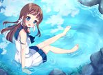 1girl :d barefoot blue_eyes blue_sky brown_hair cloud commentary_request dress from_above hair_rings highres mukaido_manaka nagi_no_asukara open_mouth partially_submerged reflection rock sailor_dress school_uniform serafuku sitting sky smile suzu_(minagi) water wet