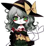 1girl black_headwear blood blush_stickers bow chibi chinese_commentary clothes_down commentary_request cuts eyebrows_visible_through_hair frilled_shirt_collar frilled_sleeves frills green_eyes green_skirt guro hair_between_eyes hat hat_bow heart heart-shaped_pupils heart_(organ) heart_of_string holding_heart injury komeiji_koishi long_hair long_sleeves looking_at_viewer lowres off_shoulder petticoat sheya shirt silver_hair simple_background skirt smile solo symbol-shaped_pupils touhou white_background wide_sleeves yellow_bow yellow_shirt