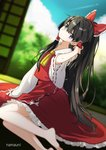 1girl bangs barefoot black_eyes black_hair blue_sky blurry blurry_background blurry_foreground bow cloud commentary_request condensation_trail day detached_sleeves dutch_angle expressionless forest frilled_bow frilled_shirt_collar frilled_skirt frills from_side hair_between_eyes hair_bow hair_tubes hakurei_reimu hand_in_hair head_tilt hot indoors legs long_hair long_ponytail looking_at_viewer looking_to_the_side namauni nature red_shirt red_skirt shirt sitting skirt sky sleeveless sleeveless_shirt sliding_doors slit_pupils solo sweat tatami touhou tree very_long_hair yokozuwari