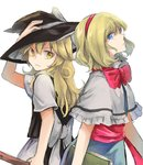 2girls alice_margatroid apron back-to-back blonde_hair blue_eyes book bow capelet frown hair_bow hairband hand_on_headwear hat kirisame_marisa long_hair looking_at_another mitsunara multiple_girls neck_ribbon ribbon sash short_hair touhou upper_body white_background witch_hat yellow_eyes