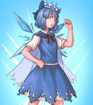1girl blue_eyes blue_hair bow cape cirno clenched_hand commentary cowboy_shot crown dress embellished_costume hair_bow mefomefo serious shirt short_hair short_sleeves solo touhou wings