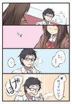 1boy 1girl 4koma black_eyes black_hair bow brown_hair brown_jacket collared_shirt comic commentary coughing facial_hair glasses jacket mikkii original school_uniform shirt smoke smoking stubble translated unohana_kotoha white_shirt
