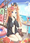 abigail_williams_(fate/grand_order) absurdres animal animal_on_head bad_id bad_pixiv_id bangs bare_legs barefoot beach bikini black_jacket blonde_hair blue_bikini blue_eyes blue_sky blush bow closed_mouth cloud collarbone commentary crazy_straw crossed_bandaids day drinking_straw dutch_angle eyebrows_visible_through_hair fate/grand_order fate_(series) flower hair_bow hair_flower hair_ornament hands_up heart_straw highres hood hood_down hooded_jacket horizon innertube jacket long_hair long_sleeves navel ocean octopus on_head orange_bow outdoors parfait parted_bangs red_flower rot_zzi sand sitting sky sleeves_past_fingers sleeves_past_wrists smile stuffed_animal stuffed_toy swimsuit teddy_bear twintails very_long_hair wariza water yellow_flower