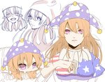 1girl american_flag_dress blonde_hair breasts chibi clownpiece commentary_request hair_between_eyes hat itamemono jester_cap large_breasts long_hair looking_at_viewer neck_ruff older pink_eyes polka_dot purple_hat simple_background sketch star star_print striped touhou upper_body white_background
