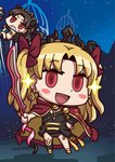 2girls april_fools black_bow black_hair blonde_hair bow chibi ereshkigal_(fate/grand_order) fate/grand_order fate_(series) hair_bow hand_on_hip holding holding_weapon ishtar_(fate/grand_order) multiple_girls official_art red_bow red_eyes riyo_(lyomsnpmp) siblings sisters sparkle star_(sky) sweat tiara two_side_up weapon