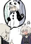 2girls ahoge anger_vein animal_costume artoria_pendragon_(all) bamboo banner black_shirt blank_eyes blush closed_mouth coat commentary embarrassed english_commentary fate/grand_order fate_(series) flying_sweatdrops full-face_blush fur_trim highres holding index_finger_raised jeanne_d'arc_(alter)_(fate) jeanne_d'arc_(fate)_(all) jewelry looking_at_another looking_at_viewer multiple_girls nanaya_(daaijianglin) necklace open_mouth panda_costume paws ponytail saber_alter shirt short_hair simple_background sparkle white_background yellow_eyes