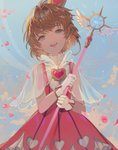 1girl :d alternate_eye_color blue_eyes blue_sky brown_hair cardcaptor_sakura cloud crown dal_(edalnem) day dress gem gloves head_tilt heart heart_cutout holding holding_wand kinomoto_sakura looking_at_viewer messy_hair open_mouth outdoors petals pinafore_dress pink_dress see-through shiny shiny_hair shirt short_hair sky smile solo upper_teeth wand white_gloves white_shirt white_wings wings