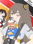 2girls ;> animal bendy_straw bird black_neckwear blush bubble_tea bubble_tea_challenge closed_mouth clothed_animal collared_shirt commentary crossover dated drinking_straw english_commentary girls_frontline grey_shirt guin_guin hair_ornament hand_to_own_mouth jacket kantai_collection long_hair military_jacket multiple_girls necktie object_on_head on_head one_eye_closed one_side_up orange_neckwear penguin remodel_(kantai_collection) scarf sendai_(kantai_collection) shirt short_sleeves smile sparkle twitter_username ump45_(girls_frontline) very_long_hair white_jacket white_scarf