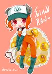 1girl :d boots egg elbow_gloves engrish gloves hat heart highres jumpsuit leaning_forward net octoling open_mouth pink_eyes ranguage rubber_boots rubber_gloves salmon_run shirt short_hair shoulder_strap smile solo splatoon_(series) splatoon_2 splatoon_2:_octo_expansion tentacle_hair tentacles white_shirt yaya_(yayaya)