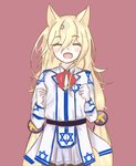 1girl animal_ears artist_request blouse closed_eyes cosplay dog_ears eyebrows_visible_through_hair fang_out g41_(girls_frontline) girls_frontline gloves happy hexagram highres negev_(girls_frontline) open_mouth star_of_david twintails