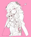 2boys :3 armor astolfo_(fate) black_bow black_ribbon blue_eyes blush bow braid charlemagne_(fate) chibi citron_82 cloak closed_eyes commentary_request doll_hug fang fate/apocrypha fate/extella_link fate_(series) fur_trim gauntlets hair_intakes hair_ribbon heart highres hug long_braid male_focus multiple_boys open_mouth pink_background ribbon single_braid sketch