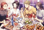 4boys :d black_hair black_sweater blonde_hair blue_eyes bottle brown_eyes brown_hair chicken_(food) collarbone copyright_request cup dress_shirt drinking_glass eating food fruit granblue_fantasy green_eyes highres ice_cream indoors lancelot_(granblue_fantasy) lobster long_hair long_sleeves looking_at_another macaron male_focus matsuki_tou multiple_boys open_mouth oyster percival_(granblue_fantasy) plate red_eyes red_hair ribbed_sweater rug salad sausage shirt shrimp siegfried_(granblue_fantasy) sitting sleeves_folded_up smile snowing spoon strawberry sundae sweatdrop sweater table tray turtleneck turtleneck_sweater vane_(granblue_fantasy) wafer_stick white_sweater window