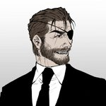 1boy beard big_boss brown_hair commentary_request eyepatch facial_hair formal male_focus metal_gear_(series) metal_gear_solid metal_gear_solid_3 mustache seven77 simple_background solo suit white_background