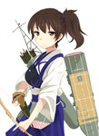 1girl agano_(yoshii_aki) arrow bow_(weapon) breasts brown_eyes brown_gloves brown_hair eyebrows_visible_through_hair flight_deck gloves hair_between_eyes hakama hakama_skirt holding holding_weapon japanese_clothes kaga_(kantai_collection) kantai_collection large_breasts looking_at_viewer muneate partly_fingerless_gloves quiver shirt side_ponytail simple_background single_glove solo weapon white_background white_shirt yugake yumi_(bow)