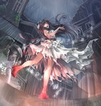 1girl bare_shoulders black_hair dress fisheye hair_ribbon kneepits light_trail long_hair open_mouth original rain red_eyes red_shoes ribbon settyaro shoes solo standing_on_one_leg the_red_shoes_(andersen) torn_clothes very_long_hair white_dress