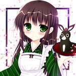 1girl ama_usa_an_uniform animal anko_(gochiusa) apron bangs bitter_crown blunt_bangs blush brown_hair bunny closed_mouth commentary_request crescent crown eyebrows_visible_through_hair flat_chest flower gochuumon_wa_usagi_desu_ka? green_eyes green_kimono hair_flower hair_ornament holding holding_tray japanese_clothes kimono long_hair long_sleeves looking_at_viewer maid_apron mini_crown petals polka_dot_trim ribbon sidelocks smile striped striped_kimono tray ujimatsu_chiya upper_body white_apron white_background white_flower white_ribbon wide_sleeves