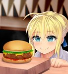 1girl ahoge artoria_pendragon_(all) bangs big_mouth blonde_hair blue_eyes blurry blurry_background braid bun_(food) cheese closed_mouth condiment disconnected_mouth fate/stay_night fate_(series) food french_braid hair_between_eyes hamburger heart heart-shaped_pupils highres ketchup lettuce light_blush melting meme parted_hair saber sesame_seeds short_hair smile solo symbol-shaped_pupils the_only_shoe very_short_hair